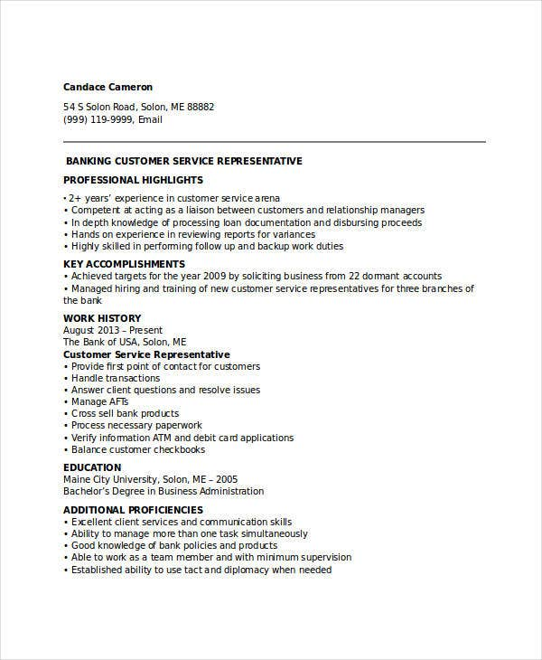 banking customer service representative resume - Bank Resume Sample