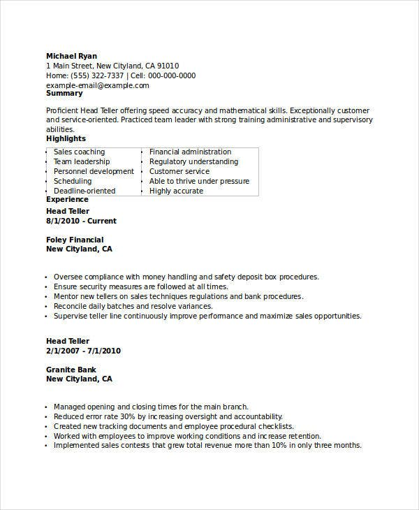 banking head teller resume - Bank Resume Samples