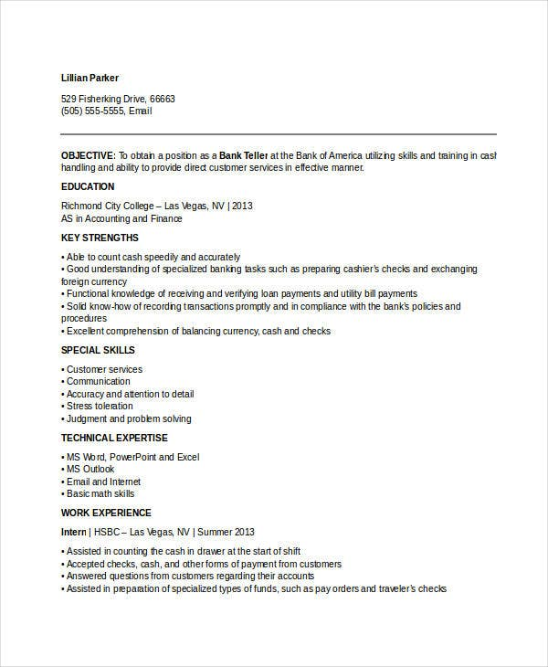Banking Resume Samples - 48+ Free Word, Pdf Documents Download