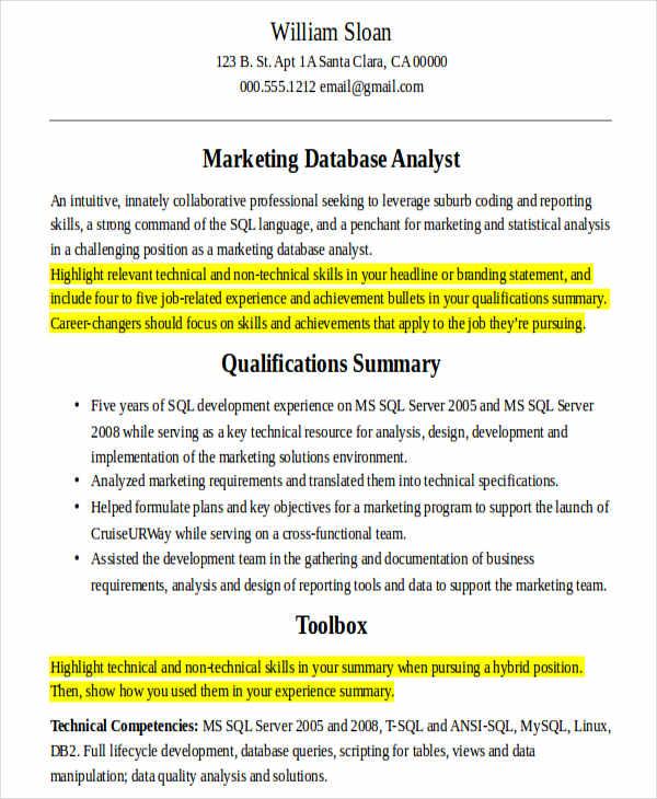 marketing data analyst resume