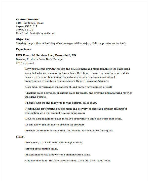 banking sales manager with experience resume - Banking Sales Resume