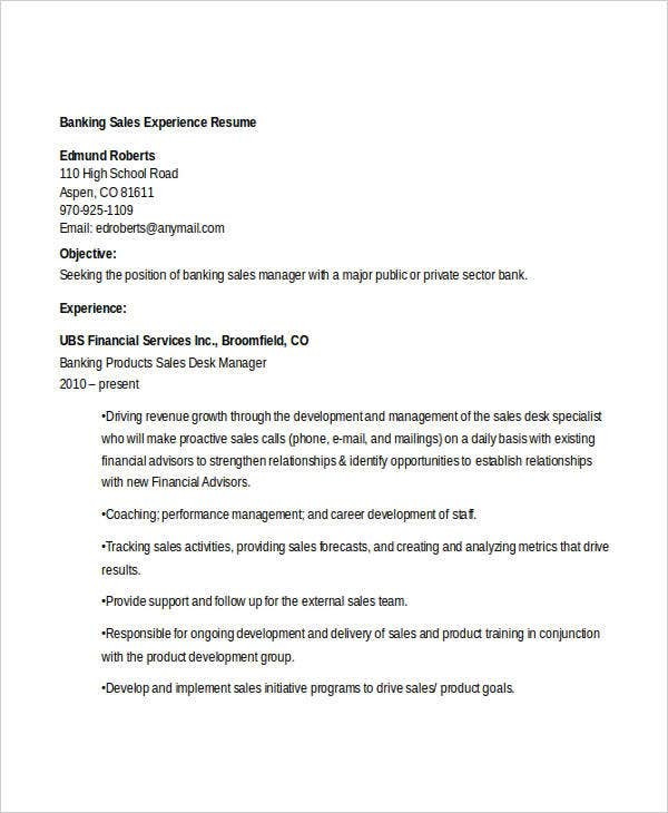 banking sales experience resume5
