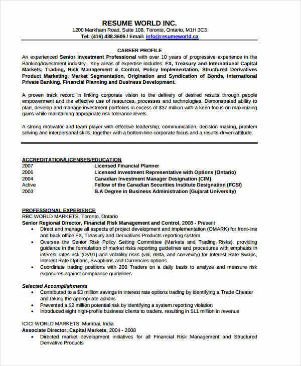 Captivating Investment Banking Manager Resume With Private Banker Resume