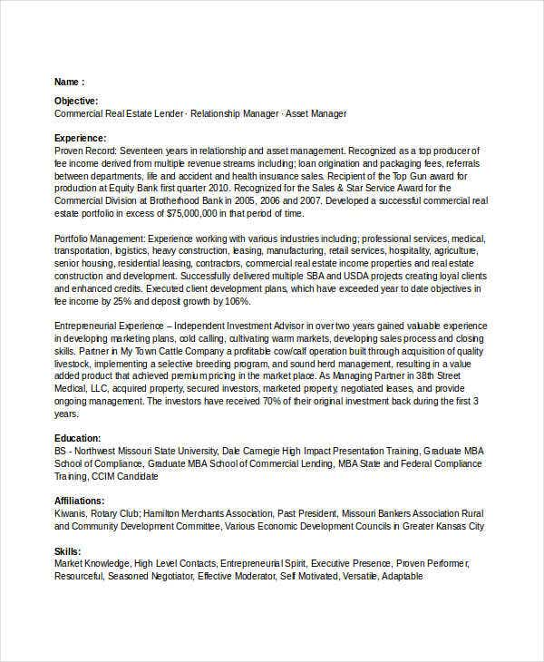 commercial real estate banking resume. Resume Example. Resume CV Cover Letter