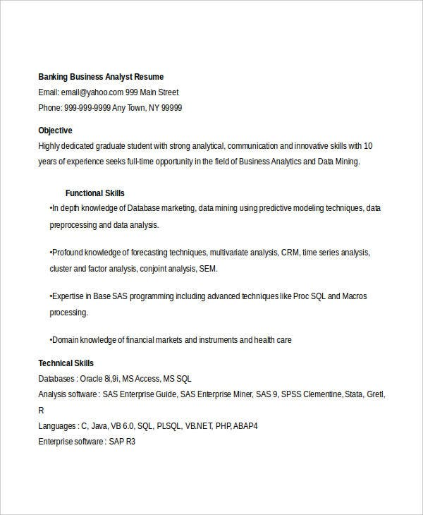 banking business analyst resume1