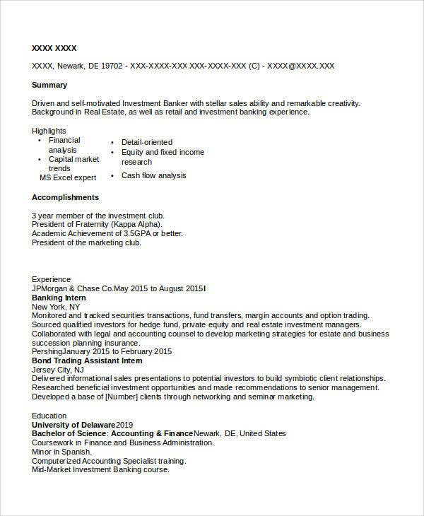 commercial banking resume sample. Resume Example. Resume CV Cover Letter