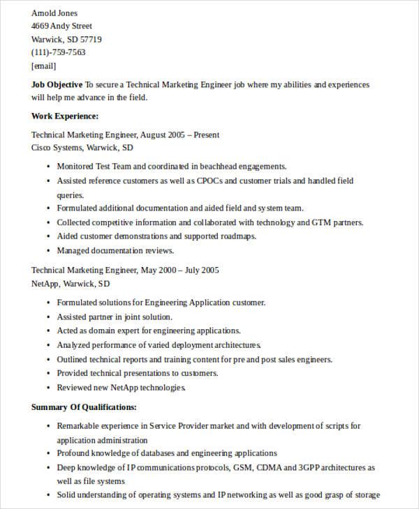 technical marketing engineer resume