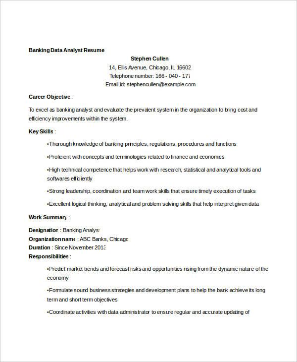 banking data analyst resume2