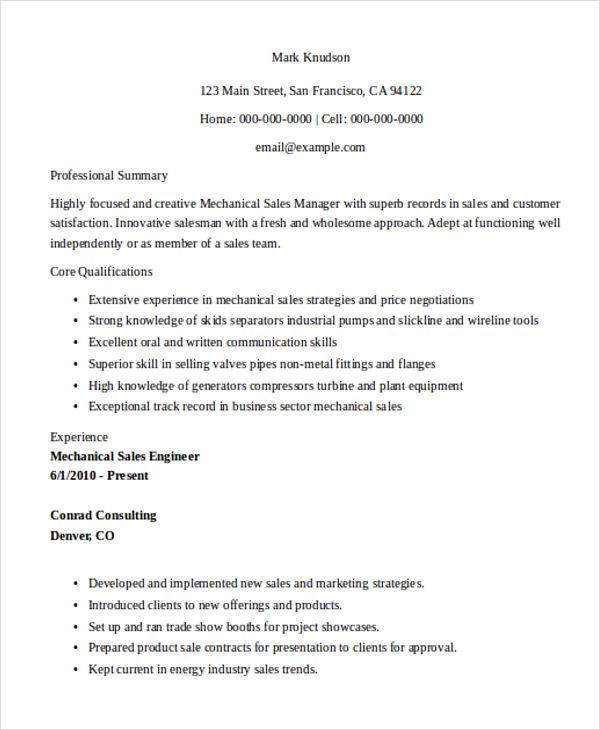 mechanical marketing engineer resume