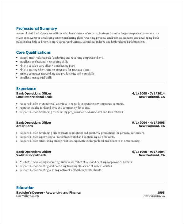 free banking resumes 45 free word pdf documents