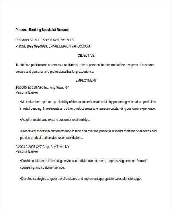 personal banking specialist resume1