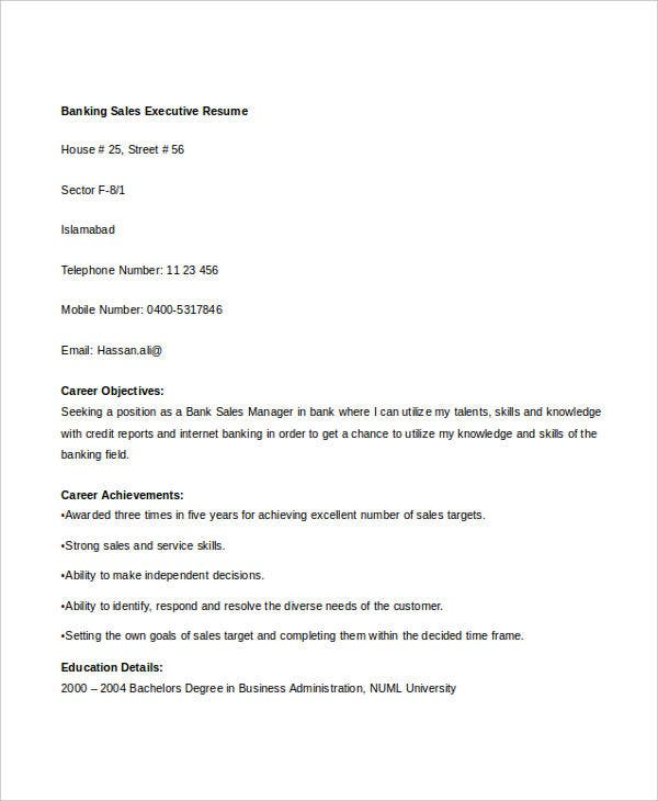 banking sales executive resume1