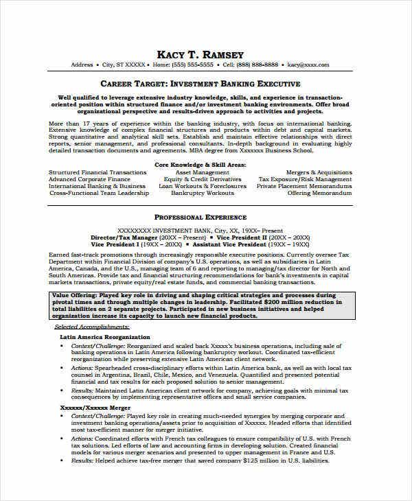 Investment Banking Executive Resume  Private Banker Resume