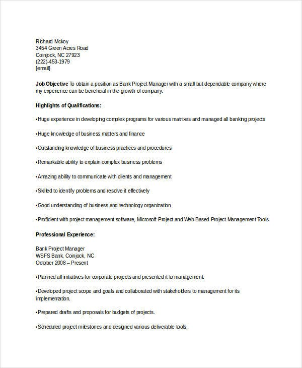 Banking Project Manager Resume
