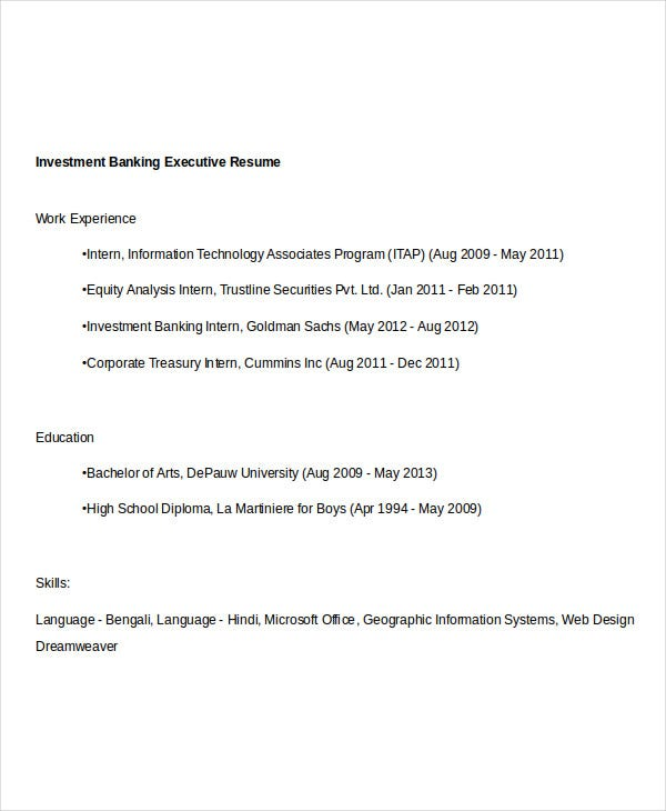 Simple Banking Resume   Free Word Pdf Documents Download