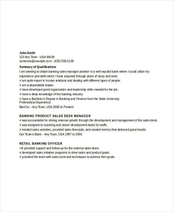 banking sales sample resume resume sample for banking sales resume samples free sample resume resume sample - Banking Sales Resume