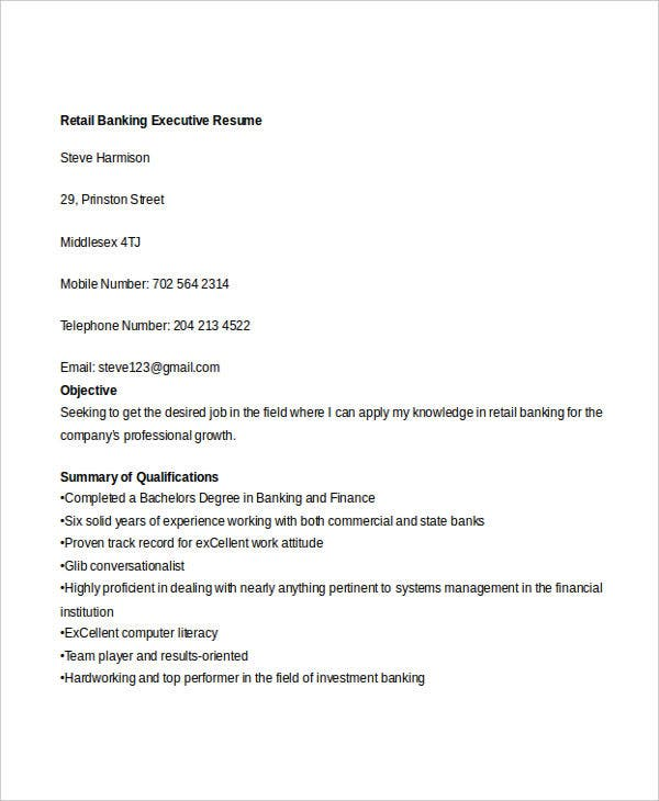 retail banking executive resume3
