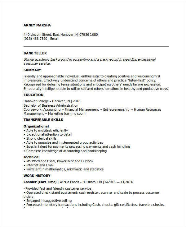 sample of resume for banking job