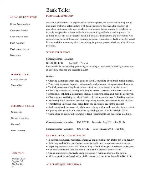 Free Banking Resumes   Free Word Pdf Documents Download