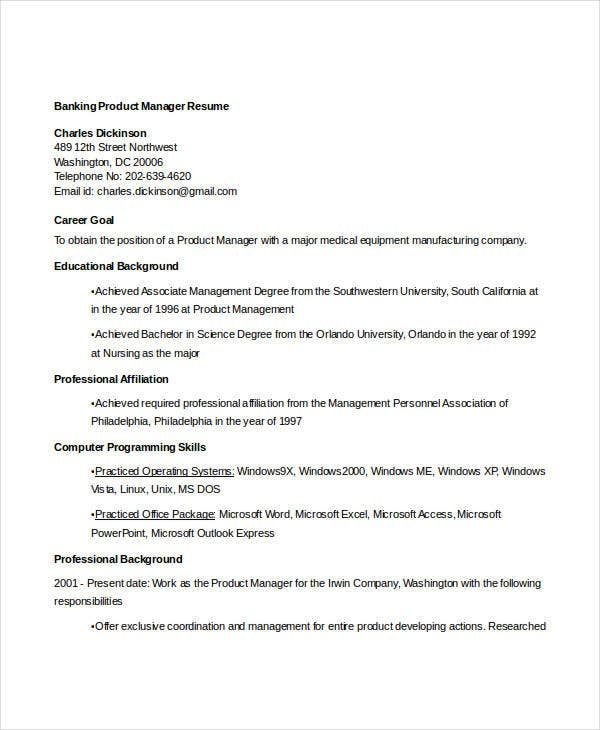 banking product manager resume