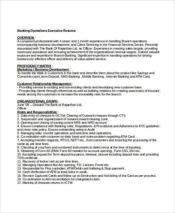 Banking Operations Executive Resume1