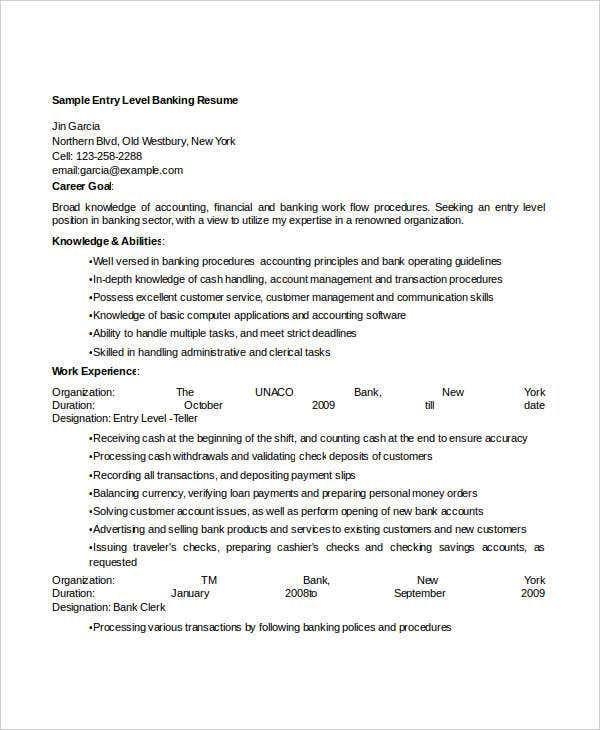 sample entry level banking resume