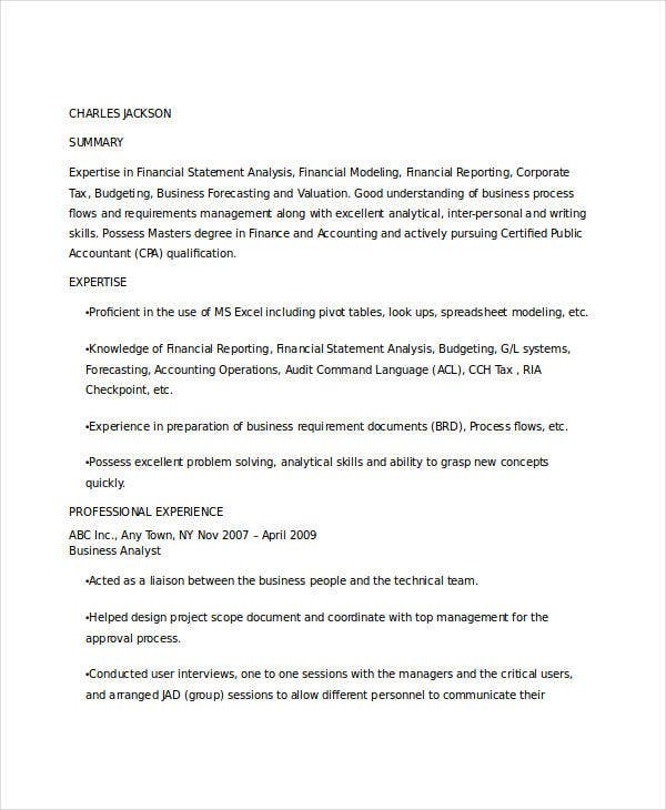 Sample Business Analysis  Sample Cover Letter Business Analyst
