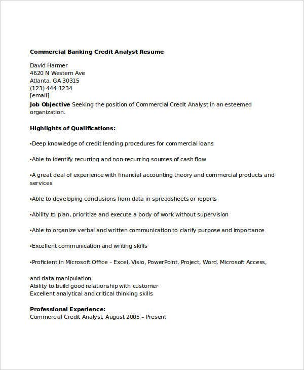 commercial banking credit analyst resume resumebakingcom. Resume Example. Resume CV Cover Letter