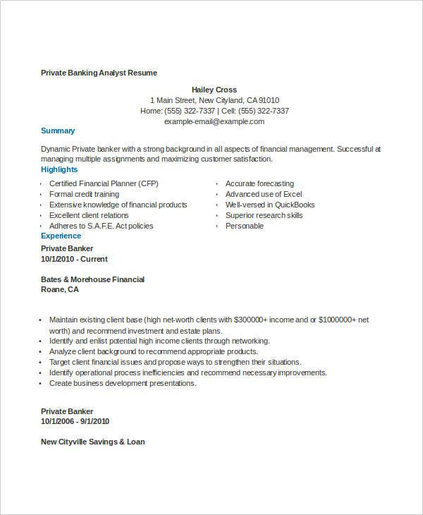 Banking Resume Templates in Word