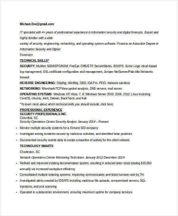 it-work-experience-resume-sample