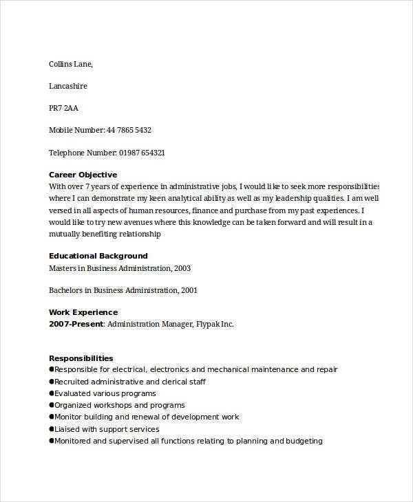 administrative manager work resume4