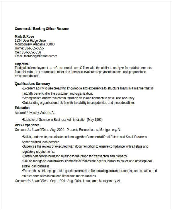 commercial banking officer resume