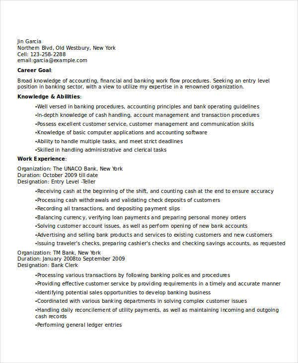 sample entry level banking resume1