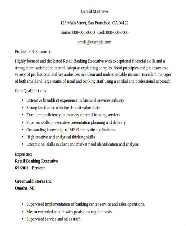 26+ Banking Resume Examples | Free & Premium Templates