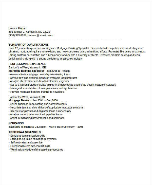 mortgage banking resume example