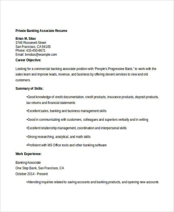 Private Banking Associate Resume. Bestsampleresume.com  Private Banker Resume