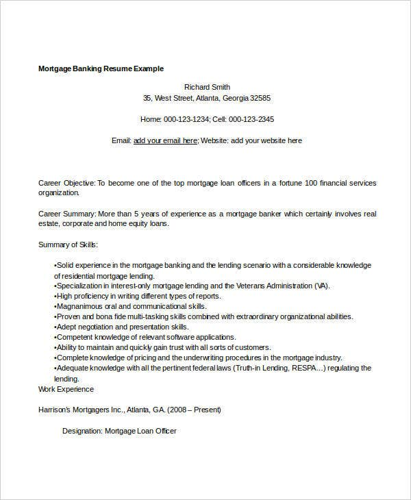 mortgage banking resume example1