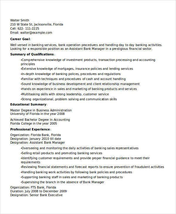banking assistant manager resume3