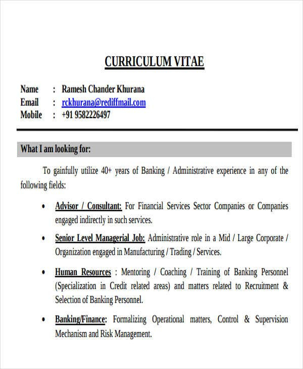 sample corporate banking resume1
