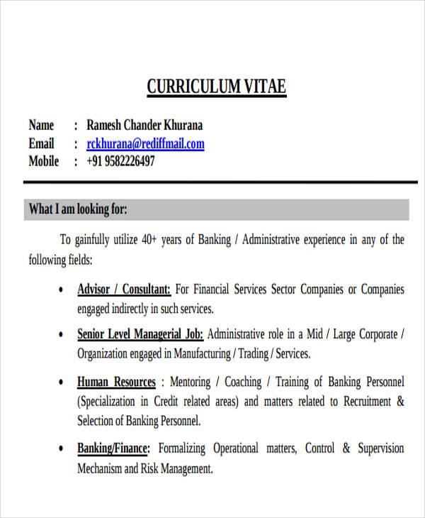 Sample Corporate Banking Resume