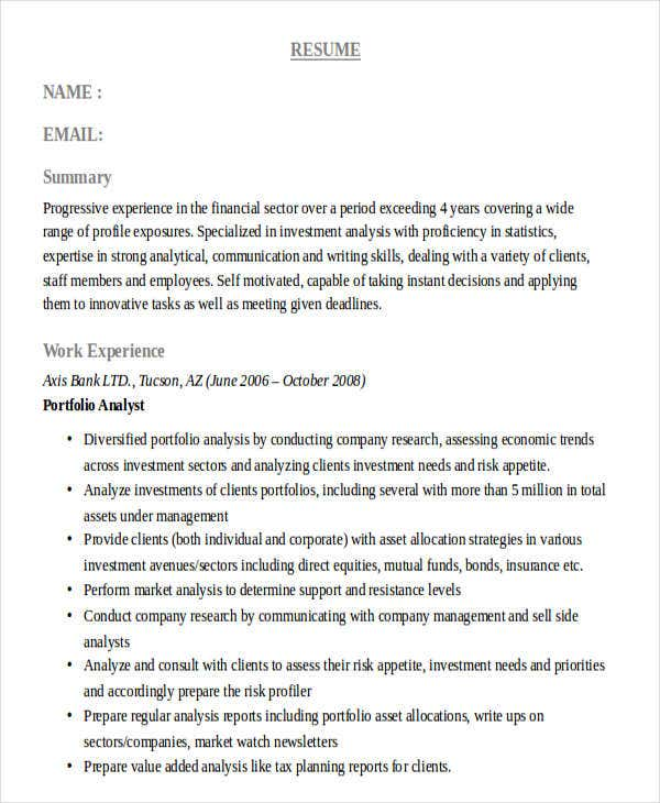 corporate banking analyst resume5