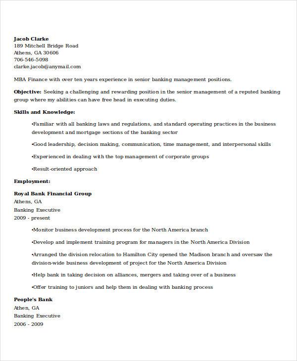 senior banking executive resume2