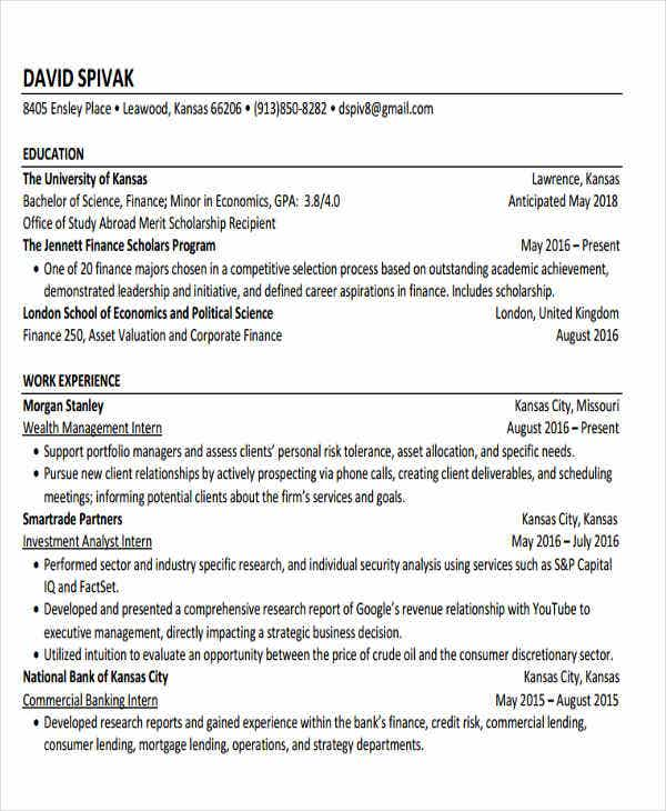 commercial banking intern resume3