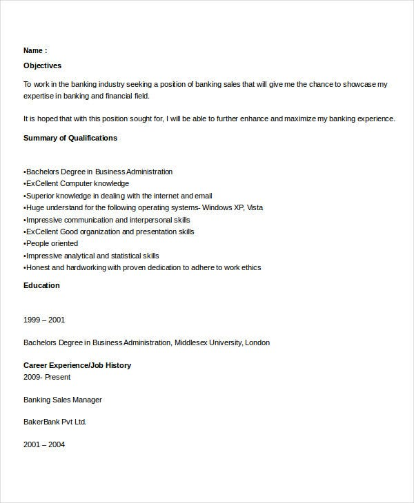 bank sales executive resume