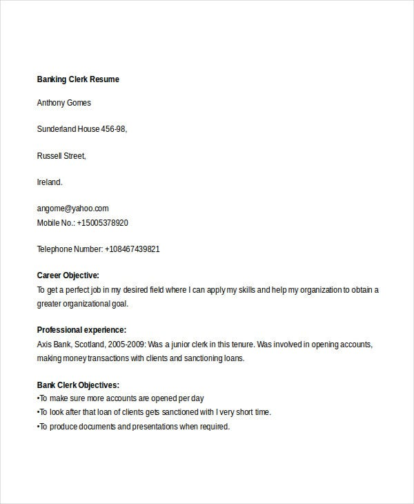 simple banking resume 29 free word pdf documents