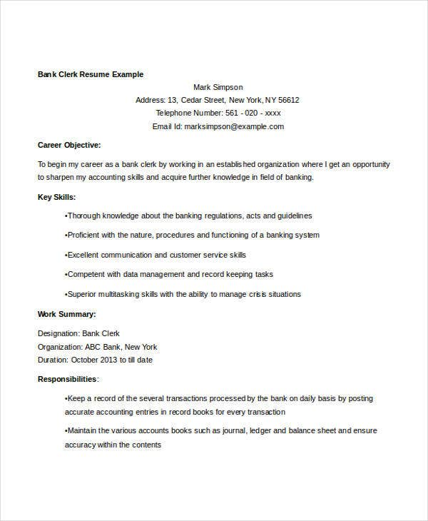 banking clerk resume example