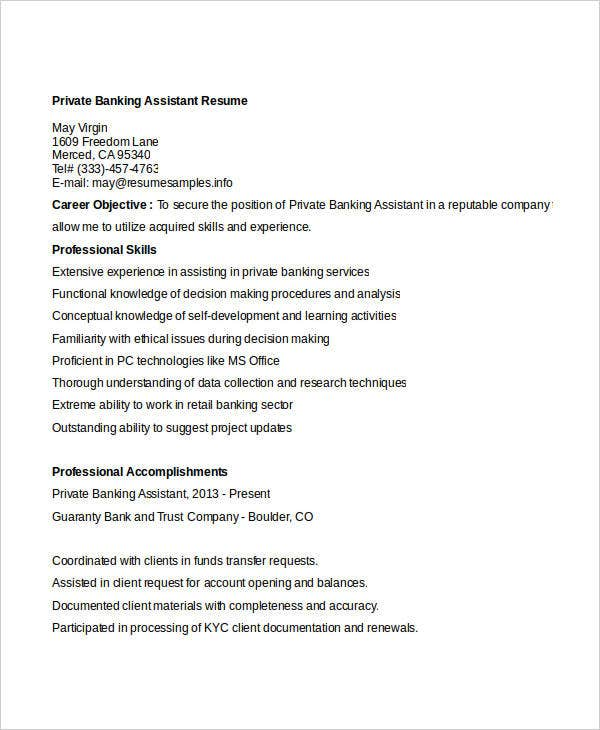 private banking assistant resume3