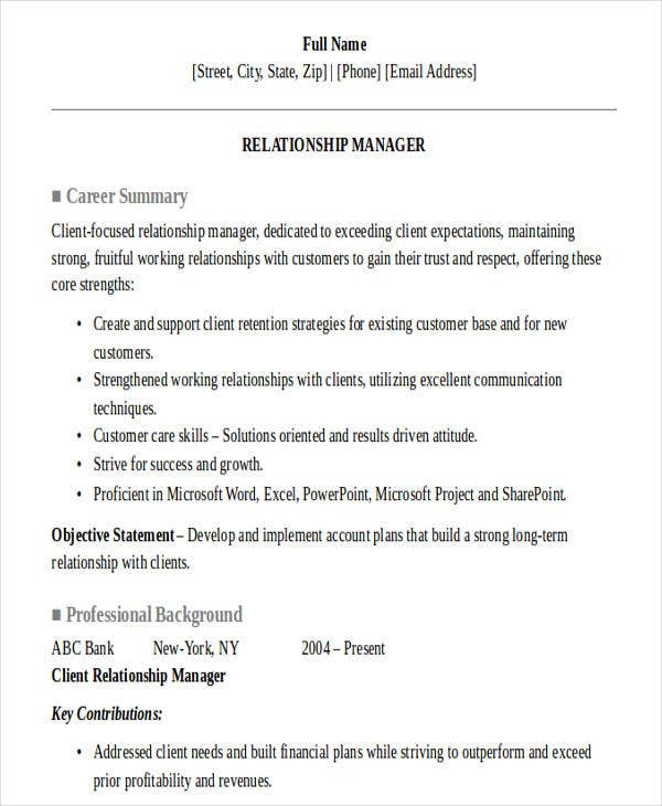 relationship manager private banking resume