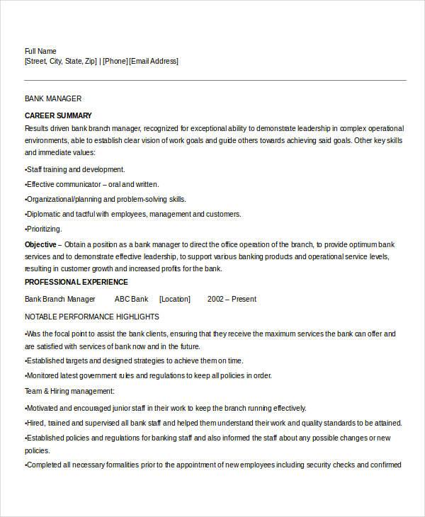 banking manager resume sample