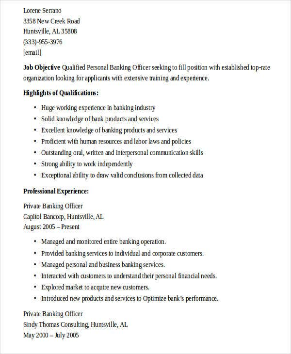 25  banking resume examples